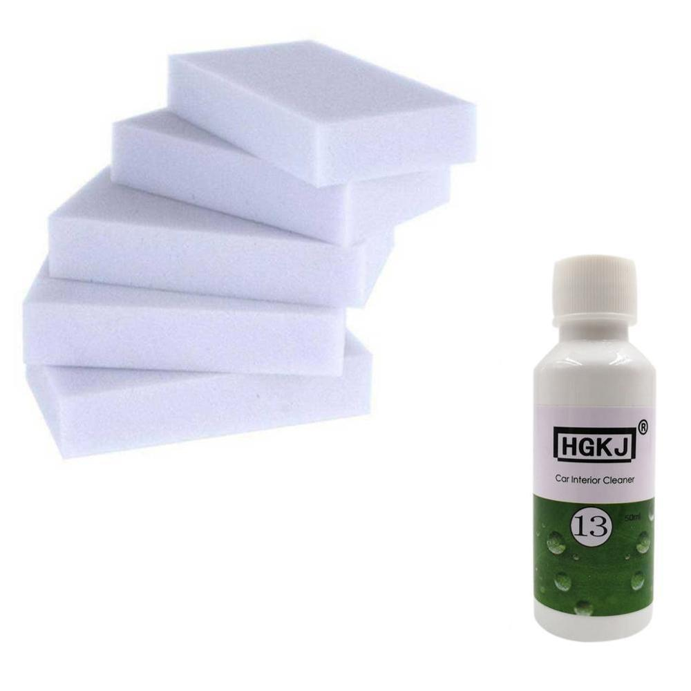 50ml+5pcs Spong HGKJ-13 High Concentrated Car Roof Interior Cleaning Agent Auto Seat Plastic Foam Cleaner Cleaning Agent Fabric
