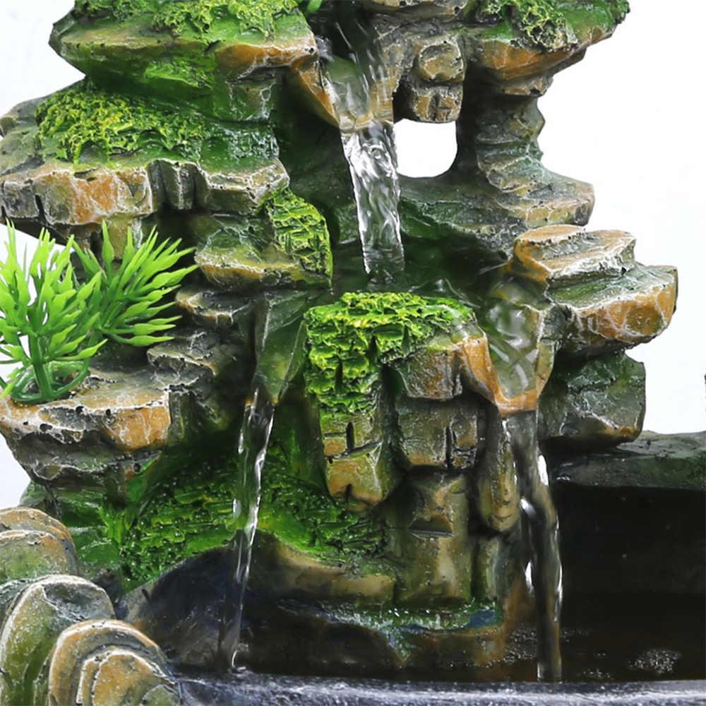 ミニチュア滝デスクトップ噴水変色 led 照明禅瞑想滝家の装飾 N14