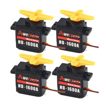 купить 4pcs Power HD 1600A Micro Mini 1.3kg Steering Analog Plastic Gear Servo High Torque for RC Car Robot Airplane Drone DIY дешево