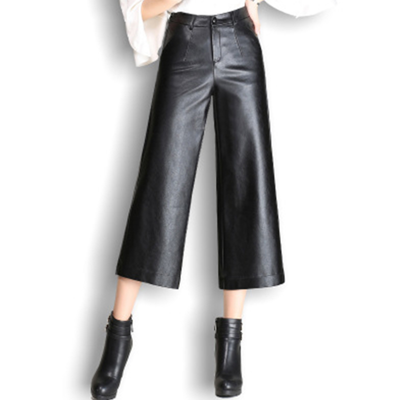 Pu wide leg   pants     capri   women 2019 winter autumn high waist straight leather   pants   female trousers Plus size pantalon femme