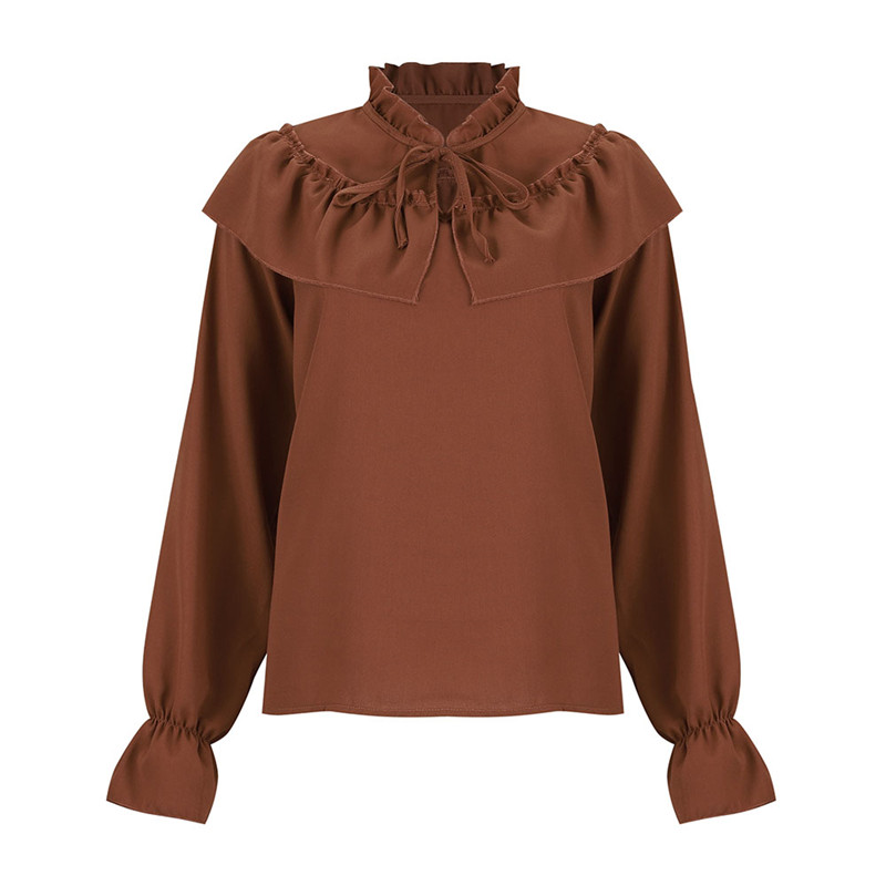 2020 Spring Lace Up Ruffle Chiffon Blouse Tops Womens Summer Blouse Lady Elegant solid Long Sleeve Shirts Casual Blusa Femininas