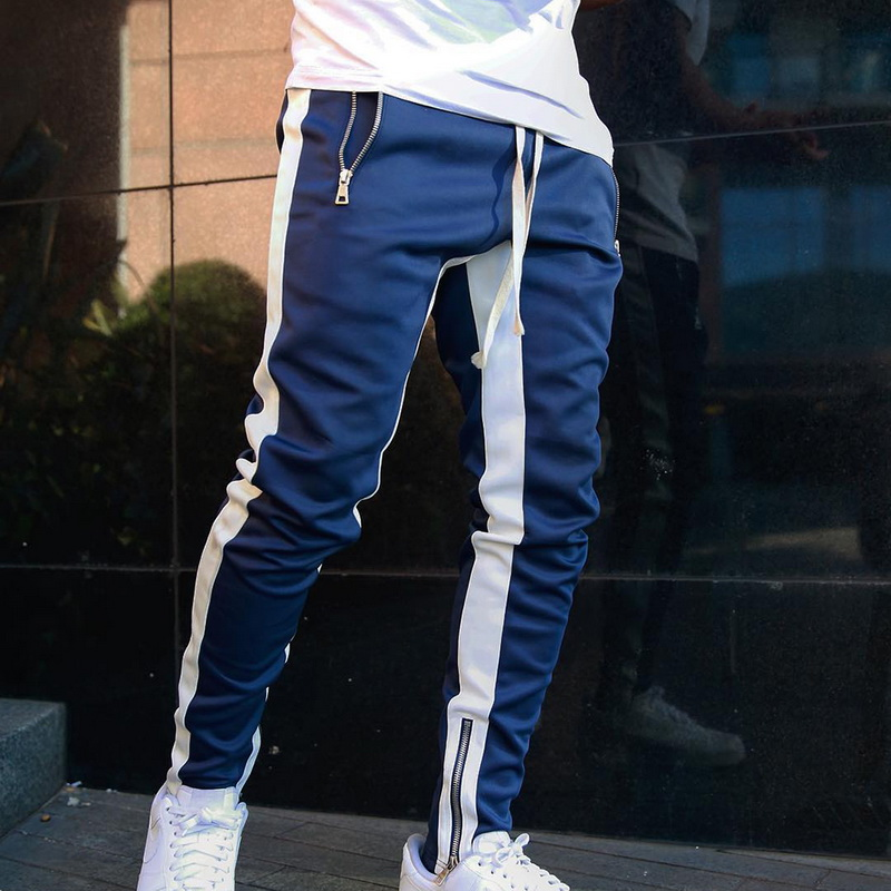 2020 New Men Jogger Pants Casual Zipper Sports Running Fitness Trousers Men Gym Fitness Sports Jogger Pants Outdoor Streetwears