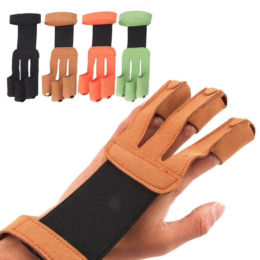 Microfiber Archery Recurve Bow Finger Protector Gloves Shooting 3 Finger Guard