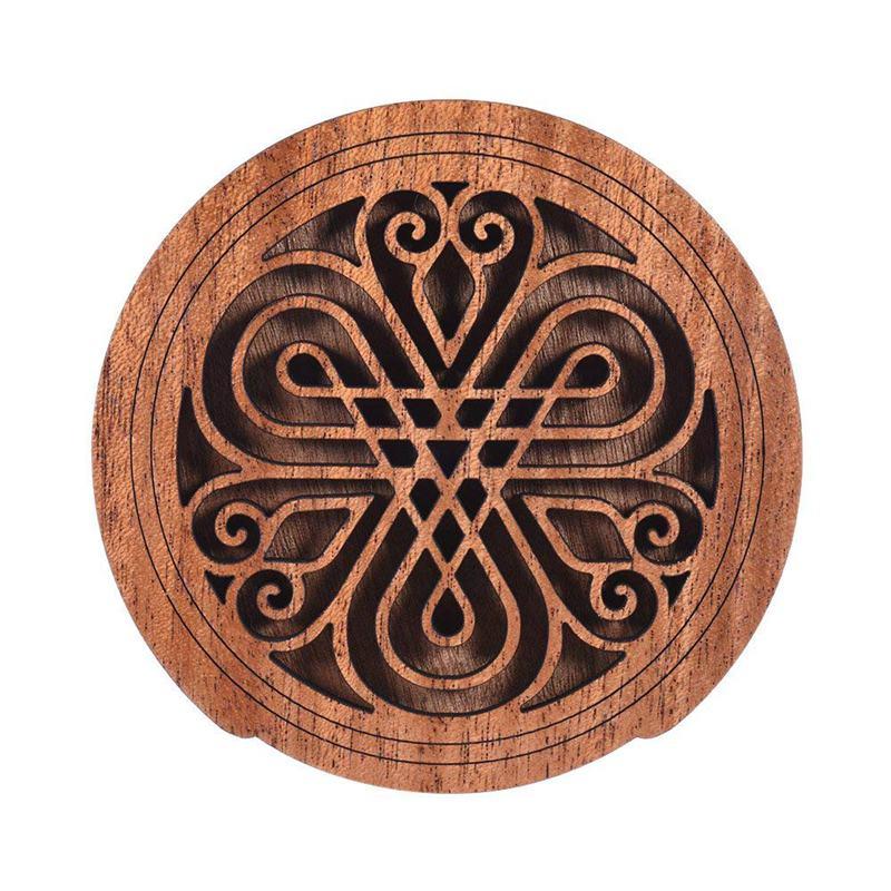 Guitar Wooden Soundhole Sound Hole Cover Block Feedback Buffer Mahogany Wood For EQ Acoustic Folk Guitars 7#