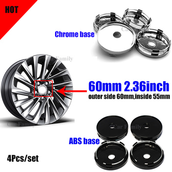 4x 60mm 6cm 2.36INCH Car Emblem Badge Cover Wheel Center Cap PVC/ABS Hub Covers for For Kia Mazda Peugeot
