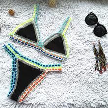 Traje de baño de retazos tipo halter para mujer, bikini con bañador de punto hecho a mano, de ganchillo, con tanga tipo micro, en colores variados, tallas S-L, modelo 2019
