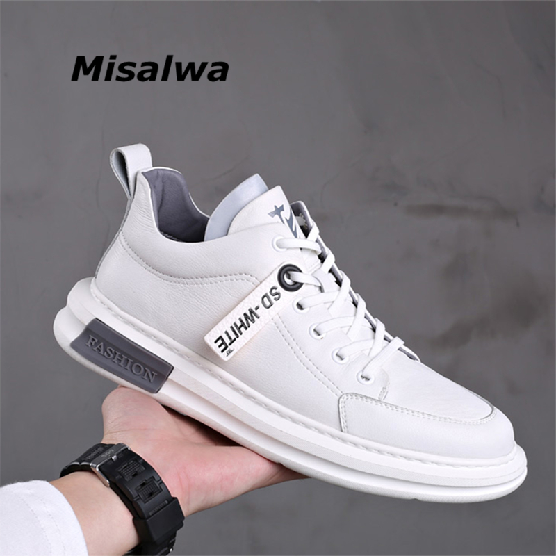 Misalwa New Arrival White Leather Men Casual Sneakers High Top Moccasins Brand Fashion Young Men Shoes Winter / Spring Footwear