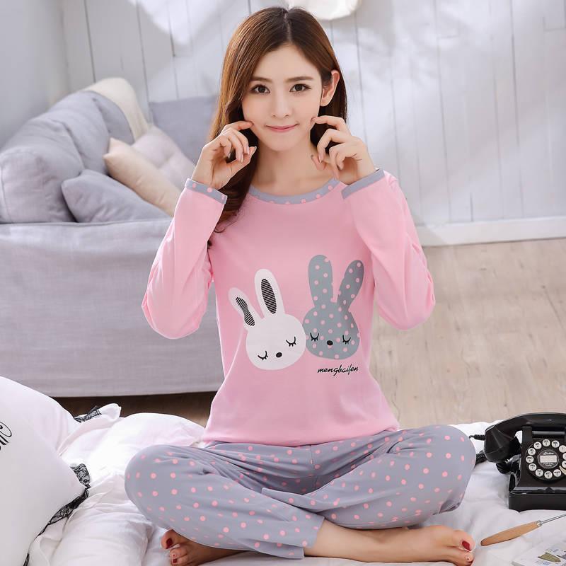 Women Pajamas Set Thin Pajamas For Women New Sleepwear Cartoon Pijamas Printed Pyjamas Women Long Sleeve Cute  Pijama Mujer