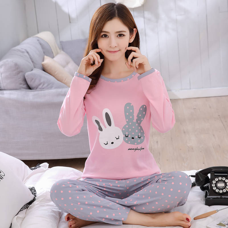 Women Pajamas Thin Pajamas For Women New Sleepwear Cartoon Pijama Printed Pyjamas Women Long Sleeve Pijama Mujer Cute Pajama Set