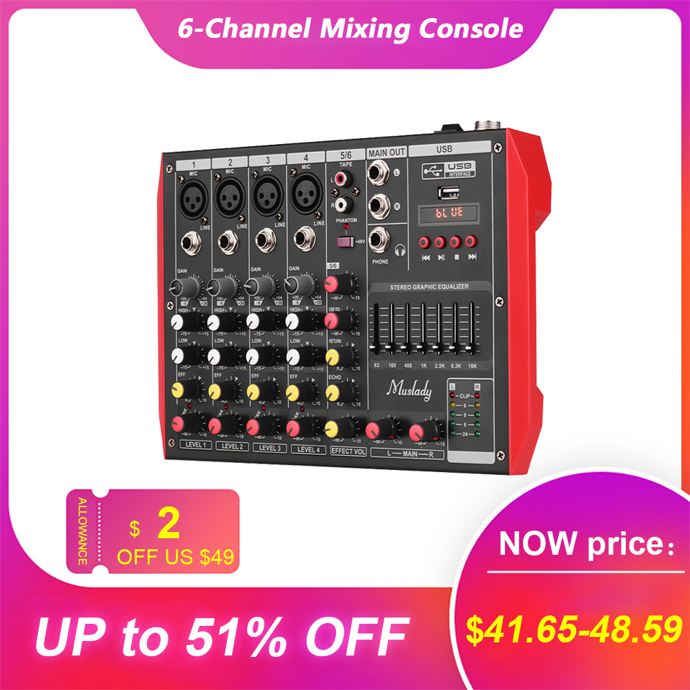 Muslady Portable 6-Channel Mixing Console Mixer audio 7-band EQ Built-in 48V Phantom Power Supports BT Connection USB MP3 Player