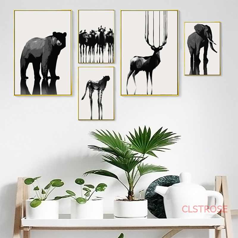 Black White Animals Posters And Prints Nordic Decoration Home Art Canvas Painting Modular Wall Pictures For Loving Room No Frame