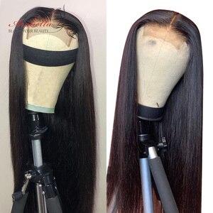 Arabella em linha reta 6x6 peruca de fechamento do laço perucas de cabelo humano pré plcuked peruano 4x4 peruca do laço para preto feminino 150% densidade perucas remy