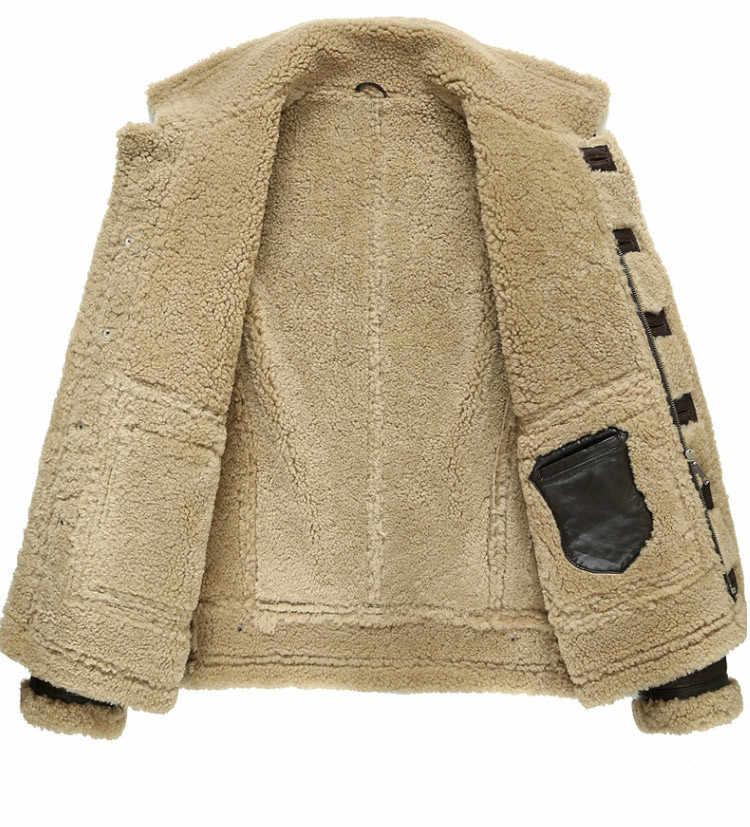 Jaqueta de inverno de couro genuíno natural real casaco de pele de carneiro para homens jaquetas bomber de pele de cordeiro plus size 185-1 my1884