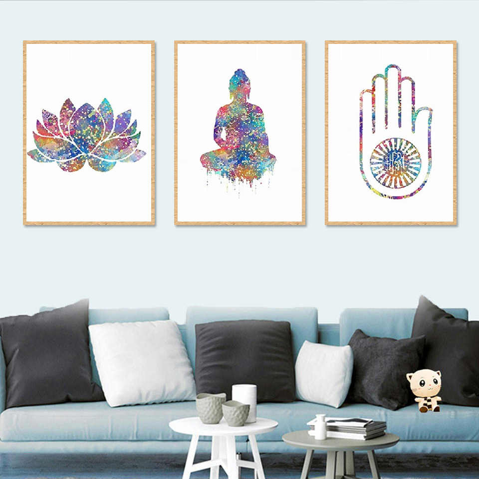 Indian Modern Home Decoration Lotus Buddha Yoga Pattern Wall Art Pictures and Poster Canvas Paintings Print Living Room Bedroom