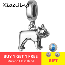 Hot Sale Authentic 100% 925 Sterling Silver Doggy Dog Charm Bulldog Beads fit pandora Bracelet diy fine Jewelry free shipping
