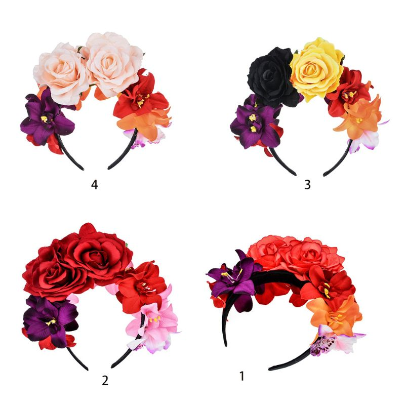 Womens Mexican Simulated Rose Flower Crown Headband Day Of The Dead Halloween Headpiece Colorful Fake Stamen Party Hair Hoop