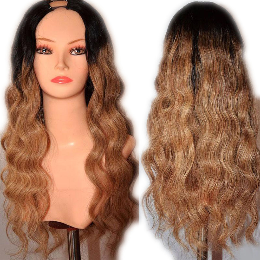 Eversilky 1BT27 Human Hair Opening U Part Wigs For Black Women Brazilian Ombre Honey Blonde Body Wave Remy Hair Middle Open Wig