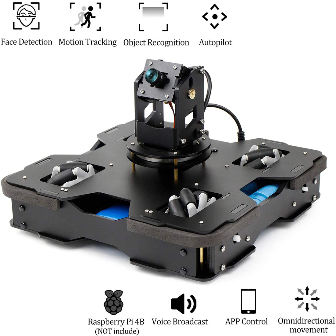 AI Smart Programmable DIY Robot Car Kit Wifi Video For Raspberry Pi 4B/2G Or 4B/4G High Tech Toy Gift For Over 10 (With Board)
