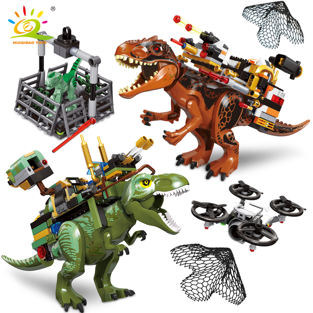 HUIQIBAO Jurassic armed tyrannosaurus Raptor Dinosaur capture World Park Model Building Blocks city figures Bricks children Toys