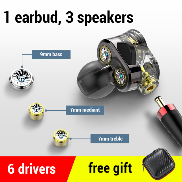 Super Bass 6 Drivers HD Earphones Wired Headphones Sport Stereo Earphone for Honor 9x Phone Headset fone de ouvido for Oneplus 7