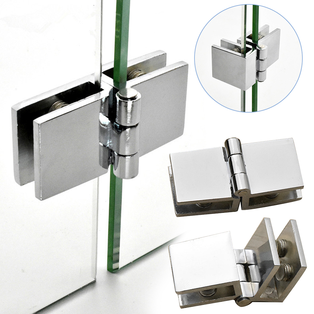 90 180 Degree Bilateral Clip Home Easy Install Glass Clamp Zinc Practical Durable Cabinet Door Hinge Bathroom Furniture Cupboard