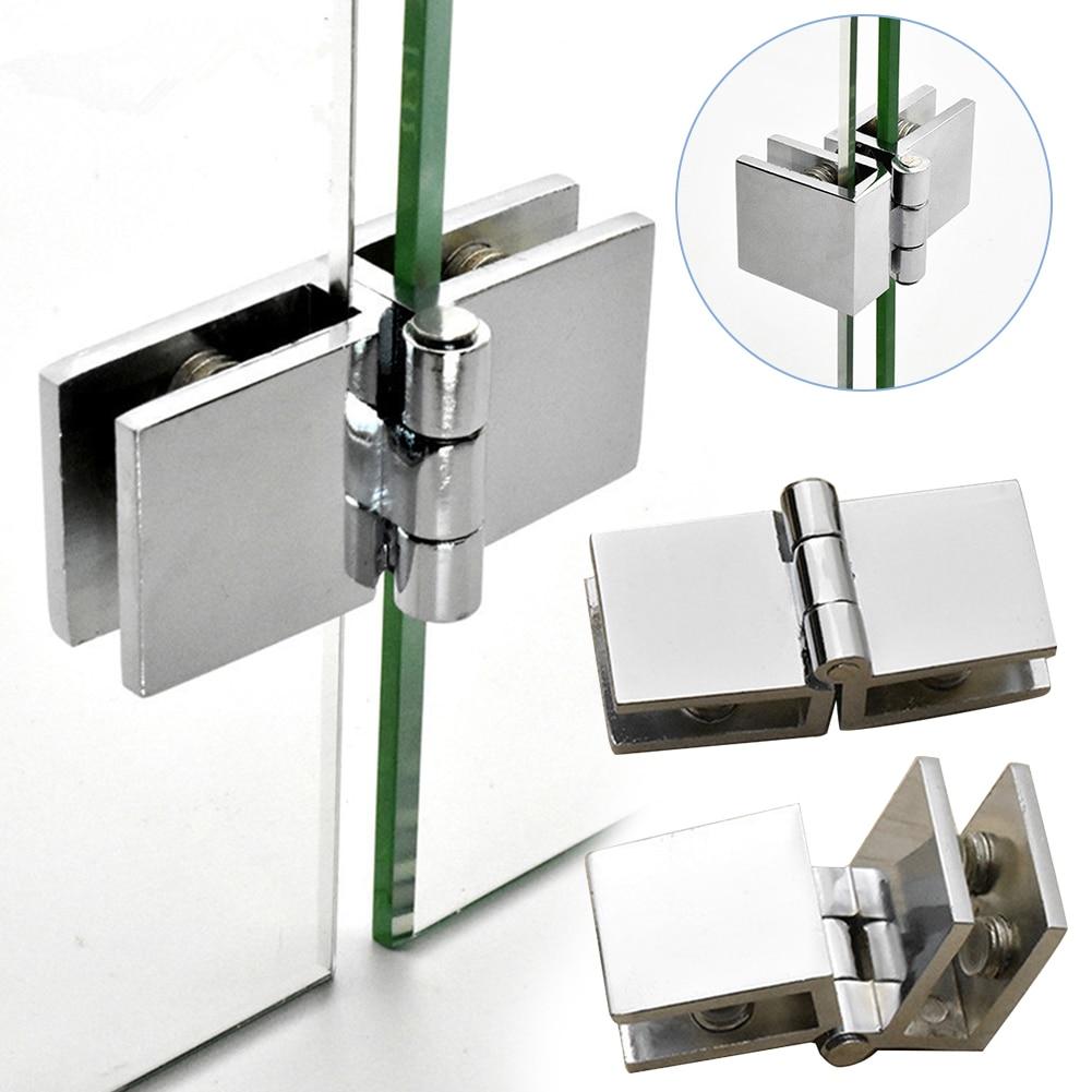 90 180 Degree Bilateral Clip Home Easy Install Glass Clamp Zinc Practical Durable Cabinet Door Hinge Bathroom Furniture Cupboard