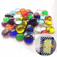 100g Clear Round Glass Gems Mosaic Tiles Flat Beads for Arts Craft Decorative Glass Pebbles Stone DIY Cabochon Mosaic Making