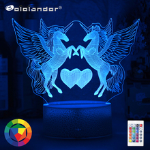 Newest 3W Remote Or Touch Control 3D LED Night Light Unicorn Shaped Table Desk Lamp Xmas Home Decoration Lovely Gifts For Kids cheap Sololandor CN(Origin) AYG02-NN-522 Night Lights Plastic LED Bulbs Switch Dry Battery HOLIDAY 0-5W 7 Colors Change Wholesale Price