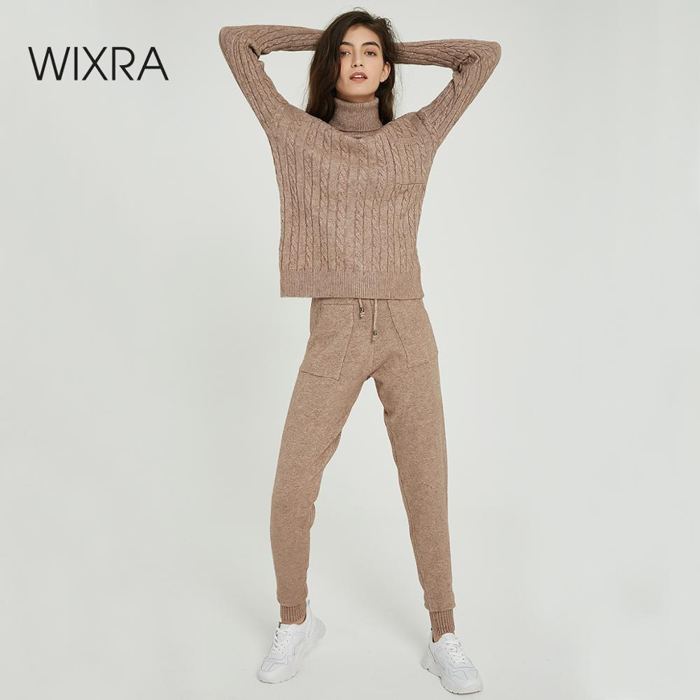 Wixra Women Sweater Sets Turtleneck Long Sleeve Pocket Sweaters Tops+Knit Long Pants Solid 2 Pieces Suits Autumn Winter