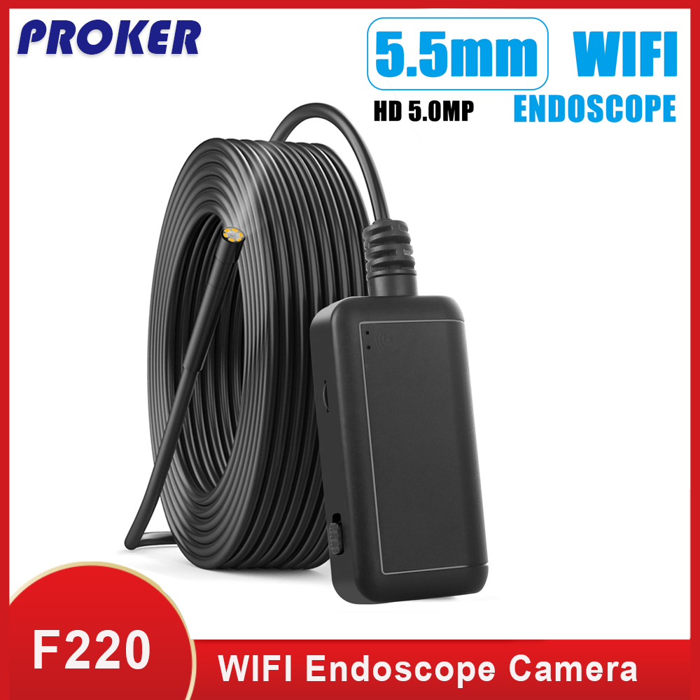 Proker WIFI Endoscope Camera IP67 Waterproof Hard Cable Inspection Cameras 5 5mm 6 LED Endoscope Borescope for IOS Android F220