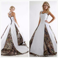 Vintage Lace Stain Country Camo Bridal Wedding Gowns 2020 Style Criss Crop Custom Make Plus Size Camo Wedding Dresses