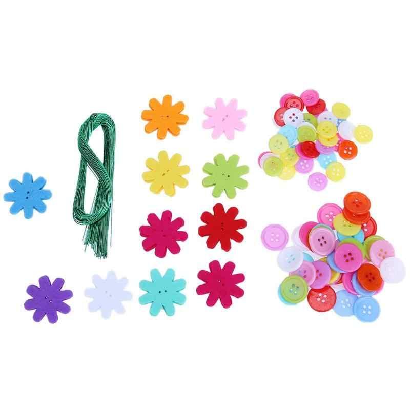 Botão Design criativo DIY Bouquet Flor Artesanato artes Botões de Threading Brinquedo Educativo Presente das Flores Artesanais de Artesanato para Crianças