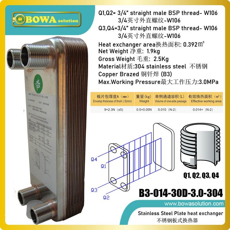 Теплообменник из нержавеющей стали, 0,4 кв. М, используется для передачи тепла между различными жидкостями, например, паром или водой в воду