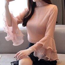 Korean Women Blouse Fashion Chiffon Shirt Womens Tops and Blouses Blusas Mujer De Moda Flare Sleeve Beading