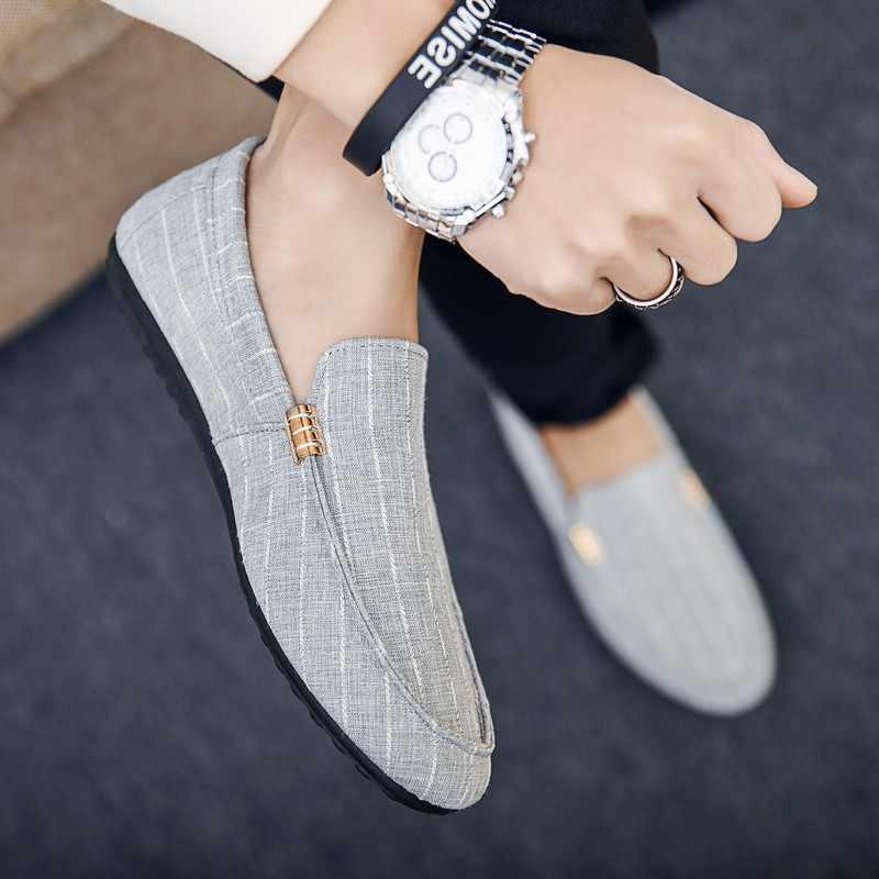Nova chegada primavera verão deslizamento-on confortável respirável sapatos casuais masculinos sapatos de lona para homens sapatos de moda plana sapatos