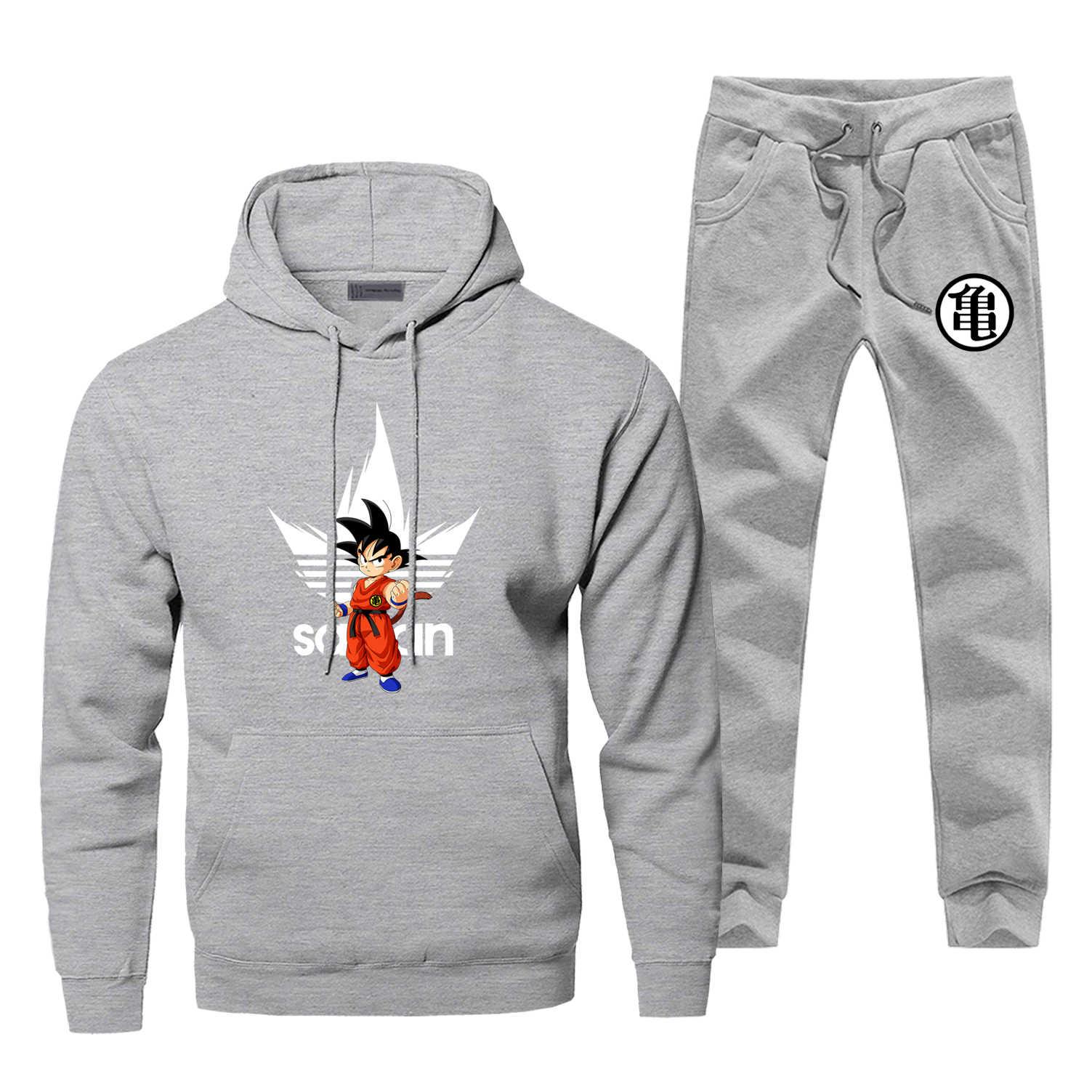 Marka mężczyzna dres Dragon Ball Z moda Super Saiyan męskie zestawy Harajuku Bodywarmer męski zestaw Casual japonia Anime męska Jogging