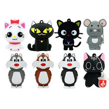 Clé USB 2.0 à forme d'animal chat ou souris, noir ou blanc style cartoon, accessoire à mémoire flash de 8 Go, 16 Go, 32 Go, 64 Go ou 128 Go, parfait cadeau,
