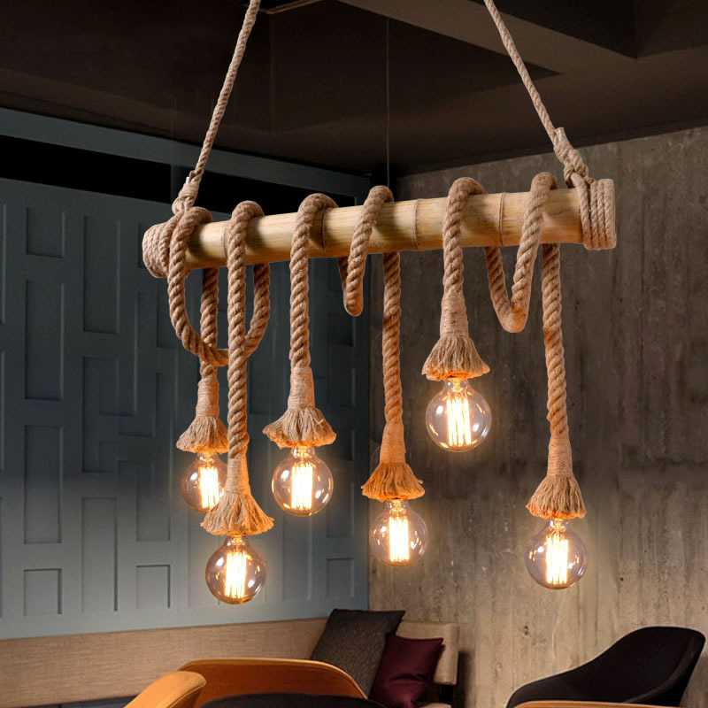 Retro przemysł lina bambusowa żyrandol 3 10 głowice Vintage konopie rury kuchnia wiszące lampy restauracja salon odzież