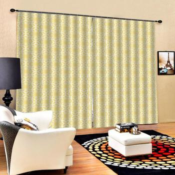 yellow curtains Customized size Luxury Blackout 3D Window Curtains For Living Room Drapes Cortinas