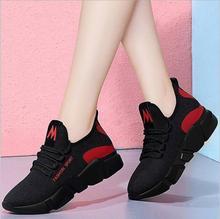 Zapatillas de deporte de moda para mujer, zapatos informales ligeros planos para mujer, zapatos de otoño y primavera con plataforma con cordones, transpirables, Tenis femeninos
