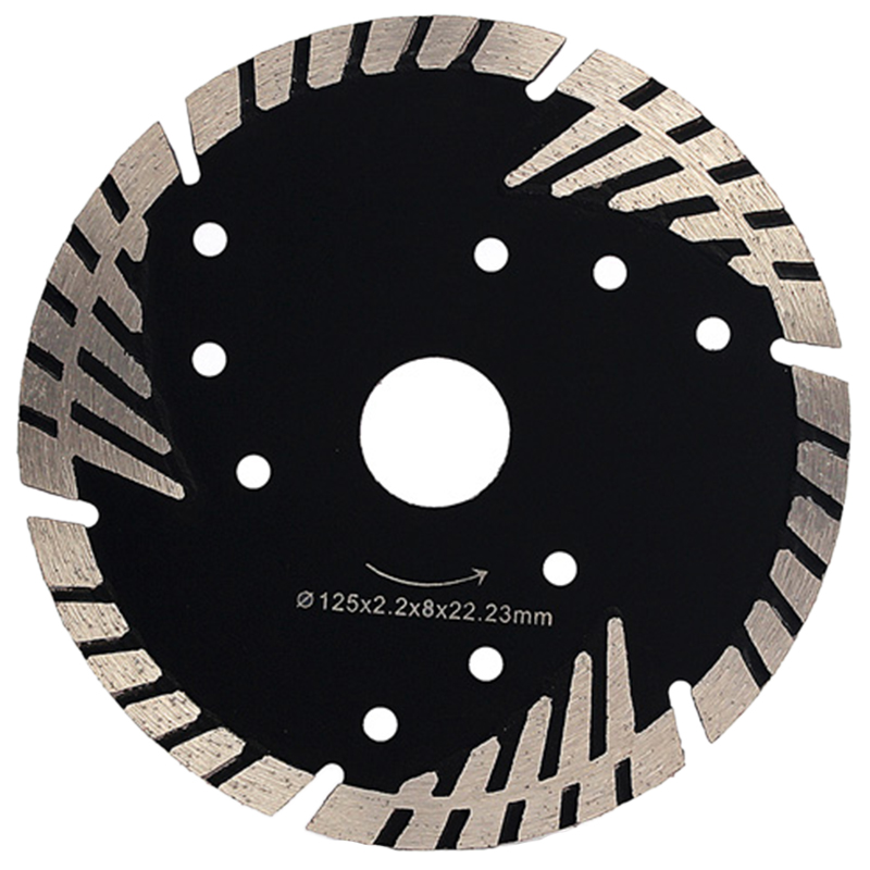 HLZS-5inch 125Mm Diamond Saw Blade Granite Stone Cutting Segmented Turbo Teeth Slant Protection Concrete Cutting Disc