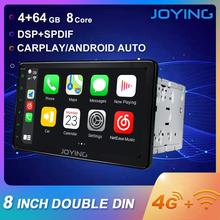 JOYING 2 din car radio Android 8.1 Octa Core 8 inch 1024*600 Support 4G fast boot DSP SWC GPS Navigation universal car radio HD