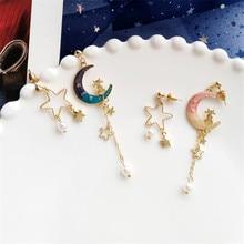 Nova lua brilhante estrelas eardrop moda feminina joker liga brincos feitos de metal jóias acessórios