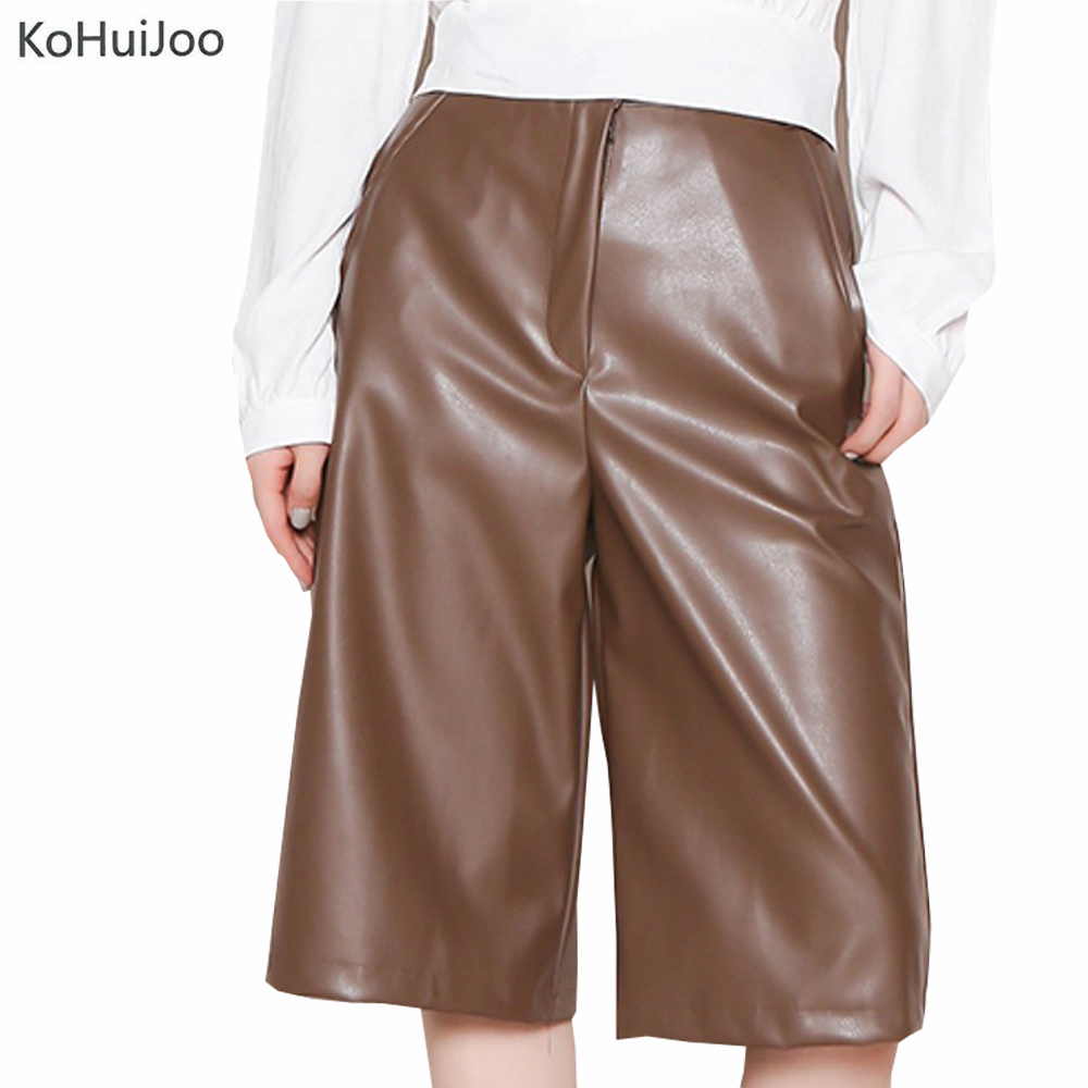 KoHuiJoo Women Faux Leather Shorts Autumn Winter Straight Black Green High Waist Casual Shorts Female British Knee Length Shorts