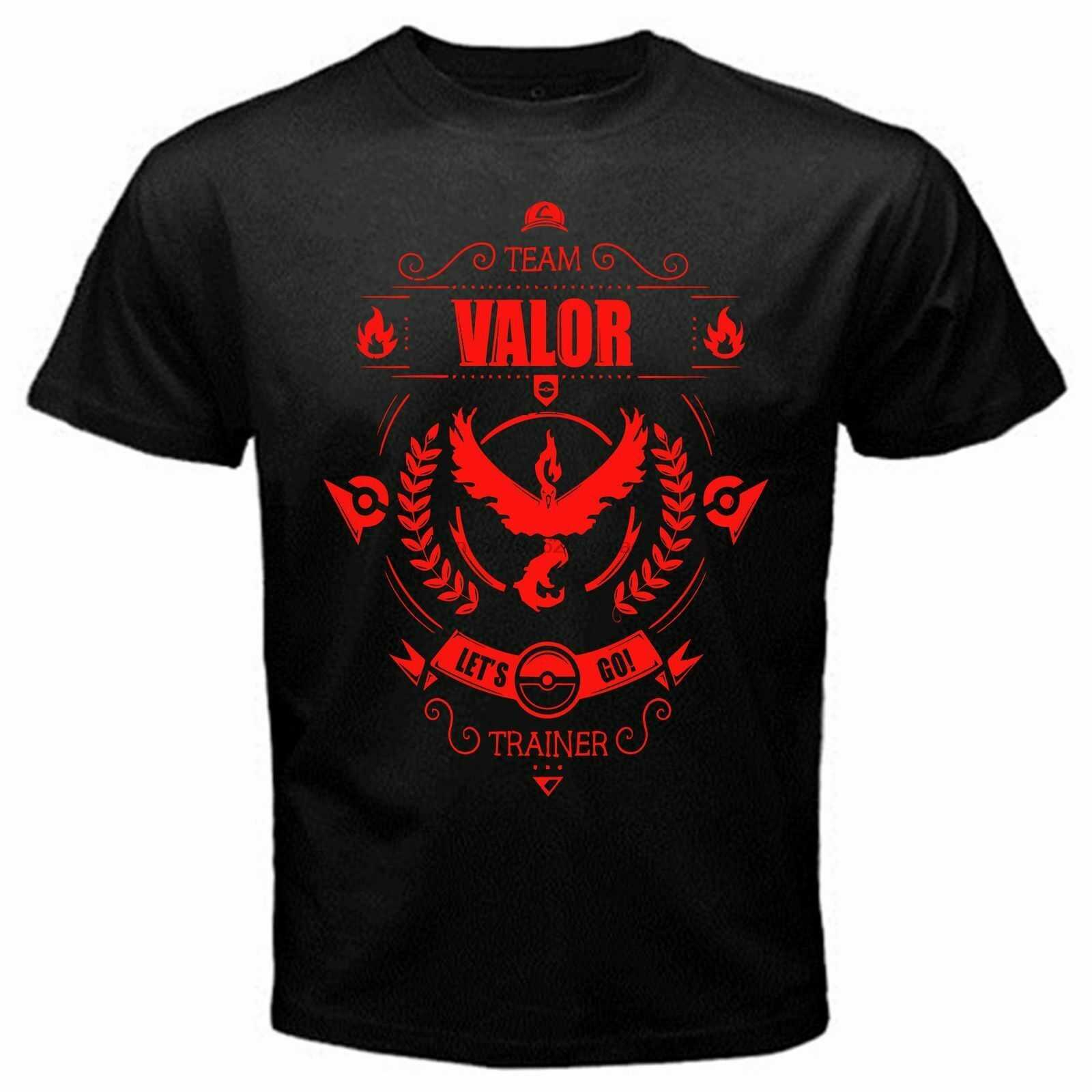 New Team Valor Trainer Pokem3on Anime Japan Classic T-Shirt Black Basic Usa Size