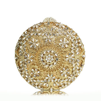 Bee In Fly Sparkling Bling Circular Hollow Flower Clutch Women's Small Crystal Evening Handbags Wedding Party Cocktail Bag