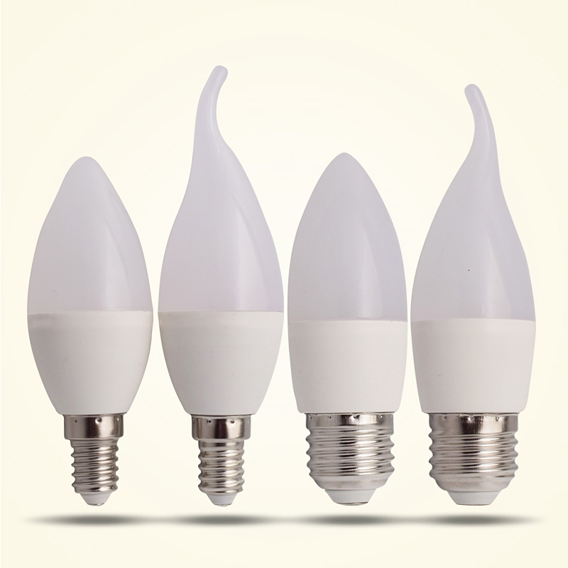 Led Candle Bulb E14 E27 Pull Tail LED Lamp Indoor Light 220V-240V 9W LED Chandelier Warm Cold White For Home Decoration