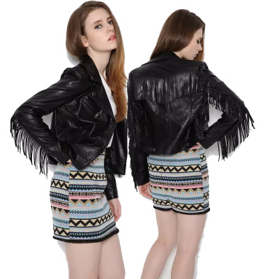 Women Motorcycle Tassel Fringe Faux Leather Jacket Coat Long Sleeve Autumn Winter Biker Outwear Black Jacket Female Streetwear
