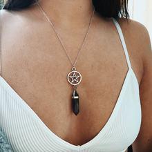 ZILPOIT yeni toptan doğal kristal takı altıgen çakra kolye Pentagram yıldız kolye kolye #543