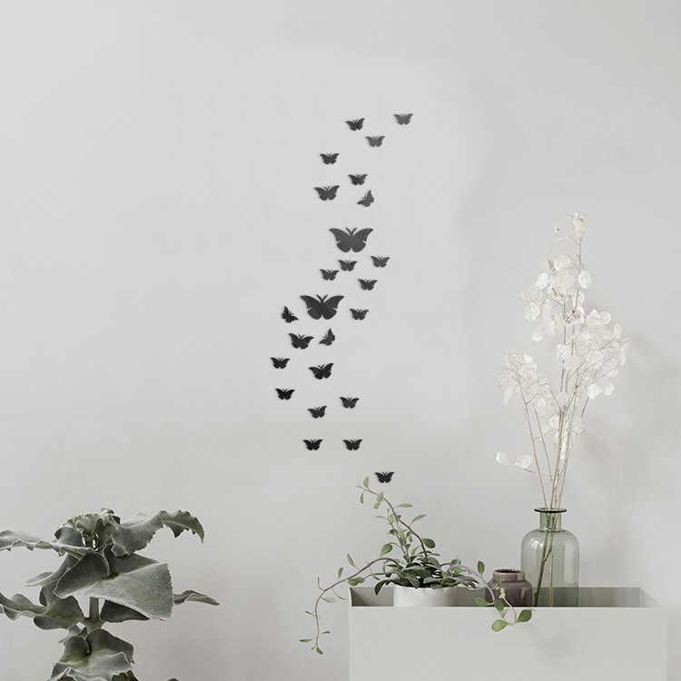 12 個 3D ミラー蝶のウォールステッカーデカール壁アートリムーバブルルームパーティー結婚式の装飾ホームデコ用子供ルーム